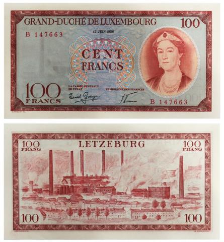 ルクセンブルク1956年100フラン...